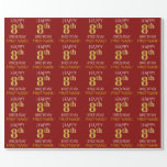 """[ Thumbnail: Red, Faux Gold """"Happy 8th Birthday"""" Wrapping Paper ]"""