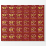 "[ Thumbnail: Red, Faux Gold ""Happy 90th Birthday"" Wrapping Paper ]"