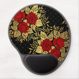 red,faux,gold,roses,pattern,chic,elegant,modern,gi gel mouse pad