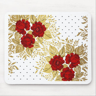 red,faux,gold,roses,pattern,chic,elegant,modern,gi mouse pad