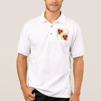 red,faux,gold,roses,pattern,chic,elegant,modern,gi polo t-shirt