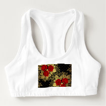 red,faux,gold,roses,pattern,chic,elegant,modern,gi sports bra
