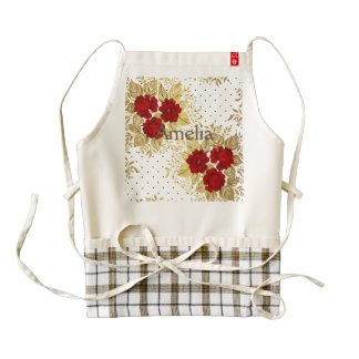 red,faux,gold,roses,pattern,chic,elegant,modern,gi zazzle HEART apron
