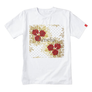 red,faux,gold,roses,pattern,chic,elegant,modern,gi zazzle HEART T-Shirt