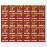 "[ Thumbnail: Red, Faux/Imitation Gold, ""10th Birthday"" Wrapping Paper ]"