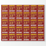 """[ Thumbnail: Red, Faux/Imitation Gold, """"33rd Birthday"""" Wrapping Paper ]"""
