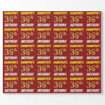 """[ Thumbnail: Red, Faux/Imitation Gold, """"36th Birthday"""" Wrapping Paper ]"""