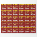 """[ Thumbnail: Red, Faux/Imitation Gold, """"57th Birthday"""" Wrapping Paper ]"""
