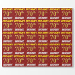 "[ Thumbnail: Red, Faux/Imitation Gold, ""70th Birthday"" Wrapping Paper ]"