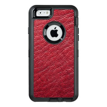 Red Faux Leather Professional Otterbox Defender Iphone Case by DancingPelican at Zazzle