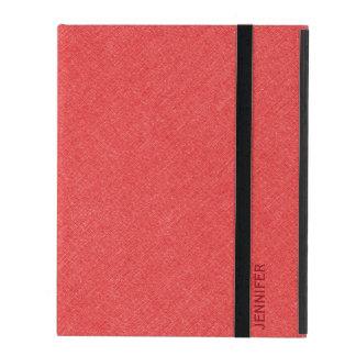 Red Faux Linen Monogramed iPad Folio Case