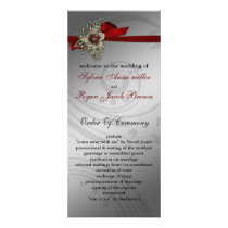 Red FAUX ribbon vintage brooch Wedding Rack Card