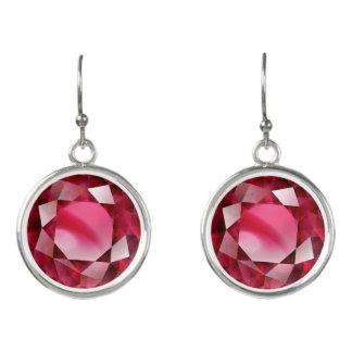 """Red Faux-""""Ruby"""" Earrings"""