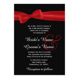 Red Faux Satin Bow and Black Elegant Wedding Card