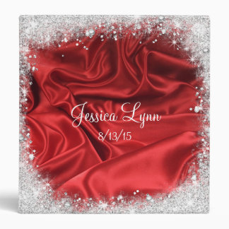 Red Faux Satin & Silver Glitter, Sweet Sixteen Binder