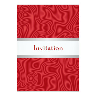 Red Faux Silk White Silver 18th Birthday Party Card
