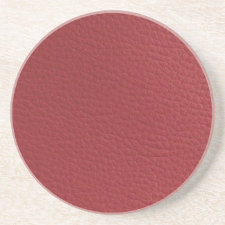 Red Faux Textured Leather Coaster