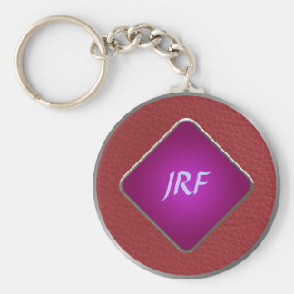 Red Faux Textured Leather Key Chain