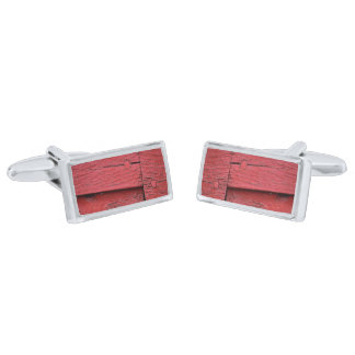 Red faux wood silver finish cuff links