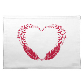 Red feather heart with flying birds cloth placemat