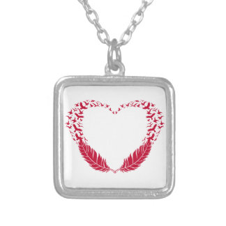 Red feather heart with flying birds square pendant necklace