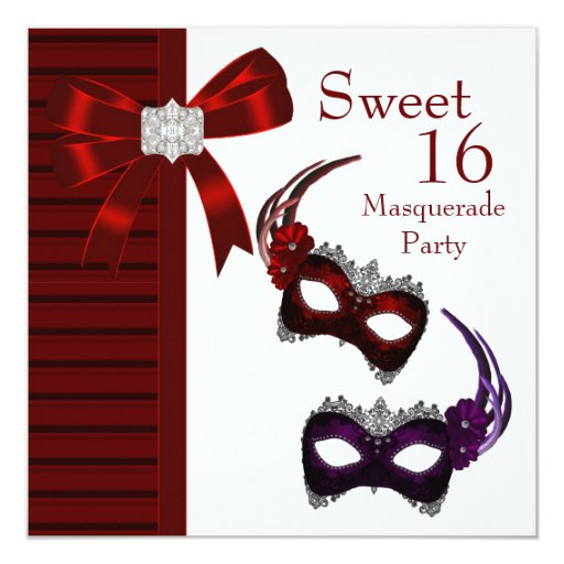 Red Feather Masks Sweet 16 Masquerade Party 5.25x5.25 Square Paper Invitation Card
