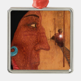 Red Feather Metal Ornament
