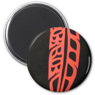 Red Feather on Black Background 2 Inch Round Magnet