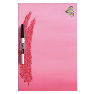 Red Feathers and Rainbow Butterfly Dry Erase Board