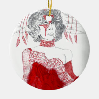 Red Feathers Fashion Ceramic Ornament