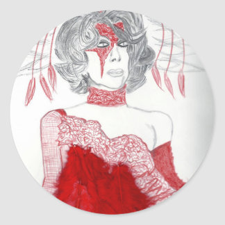 Red Feathers Fashion Classic Round Sticker