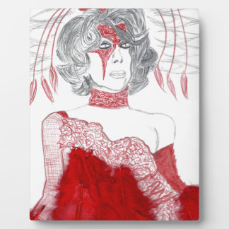 Red Feathers Fashion Photo Plaque