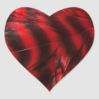 Red Feathers Heart Sticker