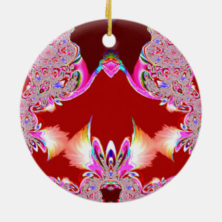 Red Feathers n Lace Fractal Ornament