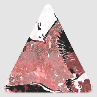 Red Feathers Triangle Sticker