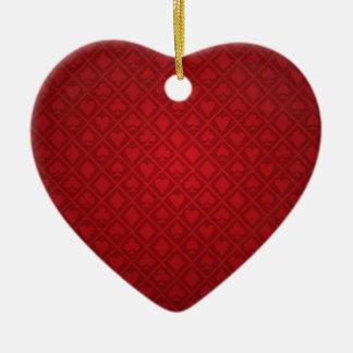 Red Felt Poker Table Design Ceramic Ornament