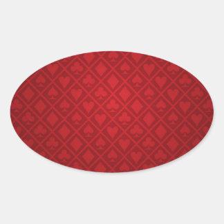 Red Felt Poker Table Design Oval Sticker