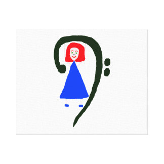 Red female blue dress blue bass clef canvas print
