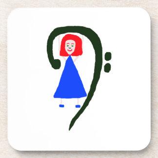 Red female blue dress blue bass clef coaster