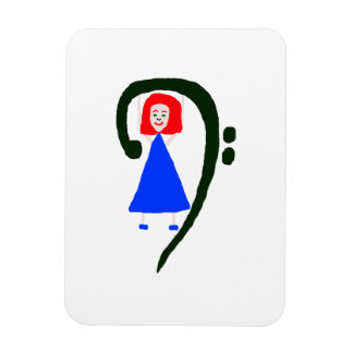 Red female blue dress blue bass clef magnet
