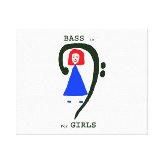 Red female blue dress green bass clef n text canvas print