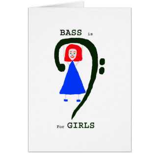 Red female blue dress green bass clef n text card