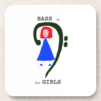 Red female blue dress green bass clef n text coaster
