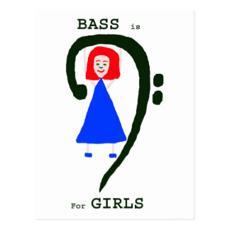 Red female blue dress green bass clef n text postcard