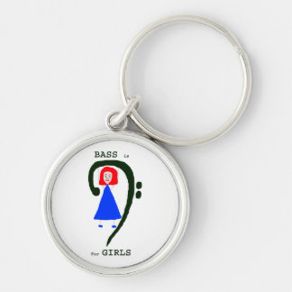 Red female blue dress green bass clef n text Silver-Colored round keychain