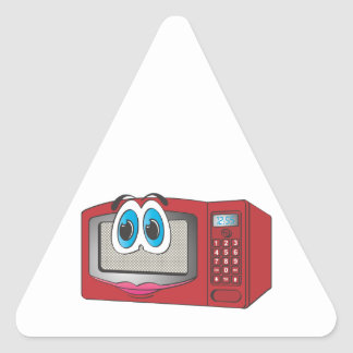 Red Female Cartoon Microwave Triangle Sticker