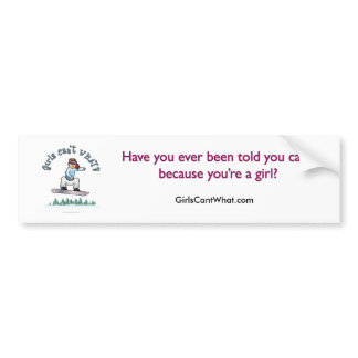 Red Female Snowboarder Bumper Sticker