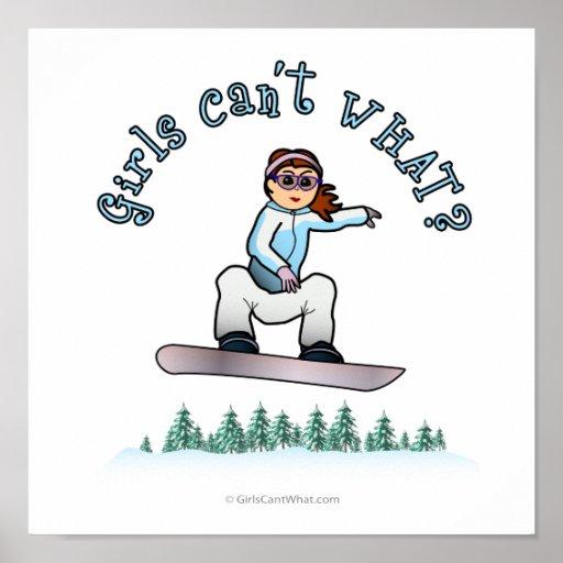 Red Female Snowboarder Print