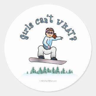 Red Female Snowboarder Round Sticker