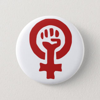 Red Feminism Symbol Button